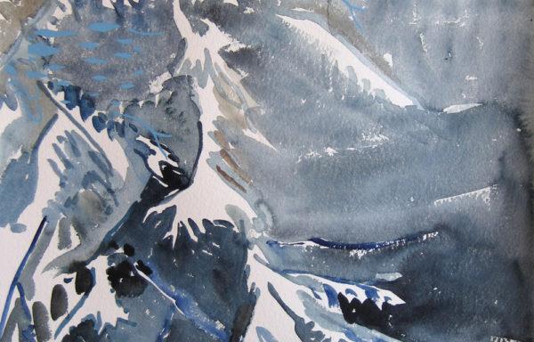 Snowy Spruce 1  |  Original Painting by Kamilla Talbot